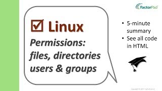 Linux permissions: files, directories, users and groups | Linux Tutorial for Beginners
