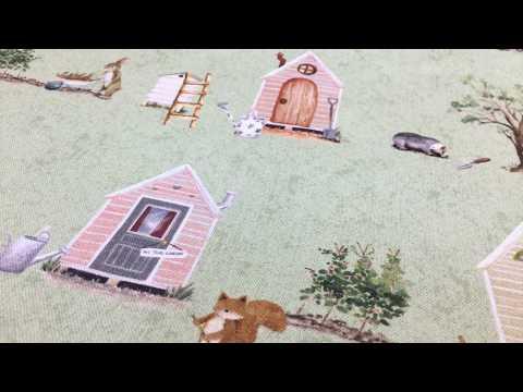 Baumwollstoff Dekostoff Digitaldruck Waldleben Haus Hase Fuchs grün braun