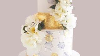 Gold Leaf Cake Decorating: Hexagon Wedding Cake- Rosies Dessert Spot.