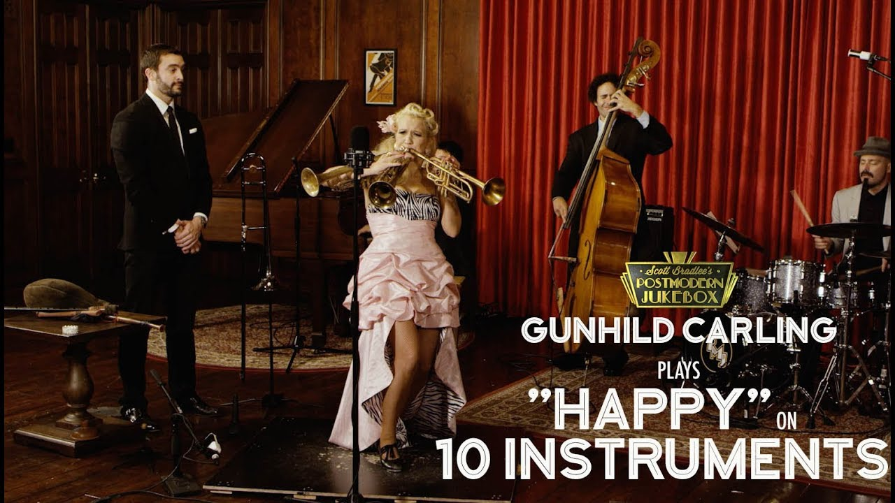 Happy – Pharrell Williams (on 10 Different Musical Instruments Cover) (ft. Gunhild Carling)