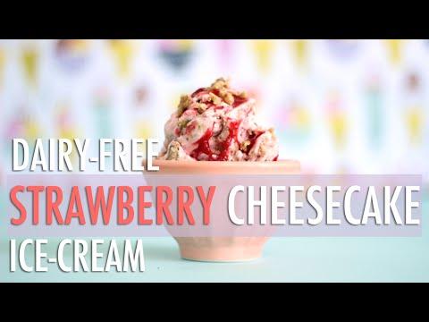 Video Strawberry Cheesecake Ice-Cream | Healthy & Dairy-Free Homemade Ice-Cream