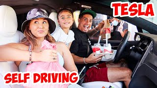 Letting Our Tesla DECIDE What We EAT For 24 Hours!  (SELF DRIVE)