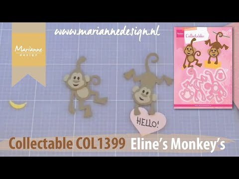 Eline's Animals by Marianne Design | Collectable COL1399 Monkey | Cardmaking Die Cutting