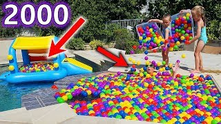 Ball Pit Balls Prank in Dad's Hot Tub Prank & Floating Ball Pit in Our Swimming Pool!!! (2000 Balls)