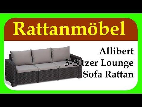 Allibert 3-Sitzer Lounge Sofa Rattan | kleines Relaxsofa aus Rattan für Balkon, Garten und Terrasse
