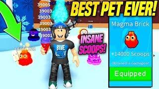 I GOT THE INSANE NEW RAREST PET IN ICE CREAM SIMULATOR WINTER UPDATE!! *MAGMA BRICK* (Roblox)