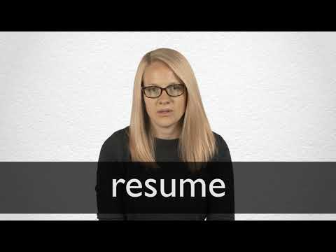Resume Definition And Meaning Collins English Dictionary