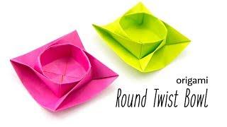 Origami Round Twist Box / Bowl Tutorial - Paper Kawaii