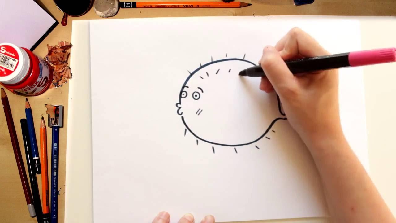 Como desenhar um Peixe Balão - desenhos para crianças