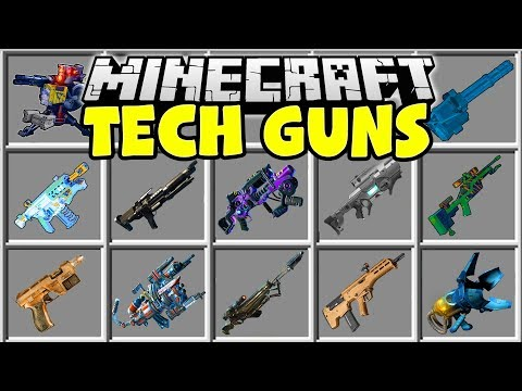 Minecraft TECH GUNS MOD | NUKE LAUNCHERS, ALIEN BLASTERS, FLAMETHROWERS & MORE!!