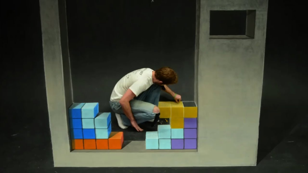 Playing Tetris In Stop-Motion Chalk Art Is A Lot Harder Than You Think