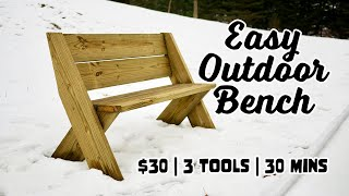 $30 Outdoor Bench With Back [Only 3 Tools And 30mins]