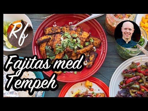 Bjud på fajitakväll med tempeh samt förslag på tillbehör. Marinerad tempehsom du kan steka eller grilla.>