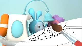 Малышарики - Раскраска - Кораблик (Учим цвета с малышами)