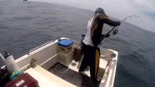 preview picture of video 'Jigging deep sea by pro anglers for giants trevally extreme weather conditions'