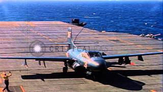 US F3D Skyknights lands on the deck of USS Hancock CV-19 in the Pacific Ocean dur...HD Stock Footage
