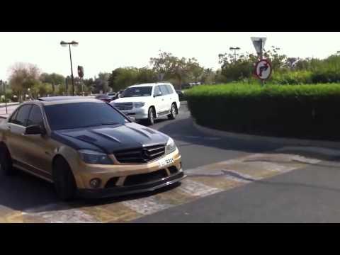 GOLD BRABUS C63 AMG HARD acceleration in Dubai