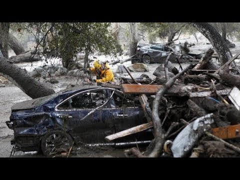 RAW: Video shows moment mudslide hits California home