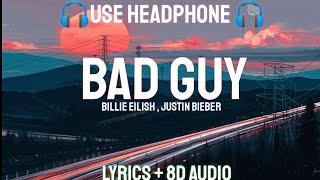 Billie Eilish , Justin Bieber   Bad Guy {remix} (Lyrics  Letra  8D Audio Spanish  Bass Boosted)
