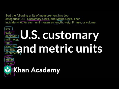 Us Customary And Metric Units Video Khan Academy