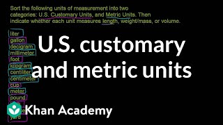 U.S. customary and metric units | Ratios, proportions, units, and rates | Pre-Algebra | Khan Academy