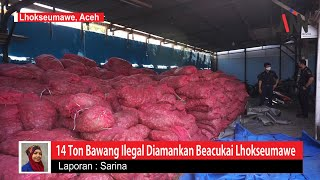 Belasan Ton Bawang Merah Ilegal Ditemukan di Perairan Aceh Utara