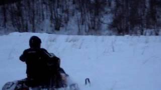 Москва-Питер на снегоходах. Подъём в гору.