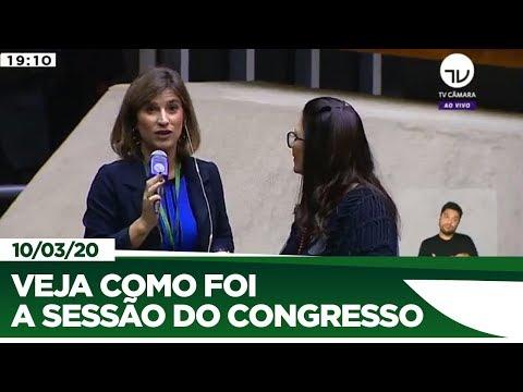 Sessão do Congresso adiada para amanhã - 10/03/20