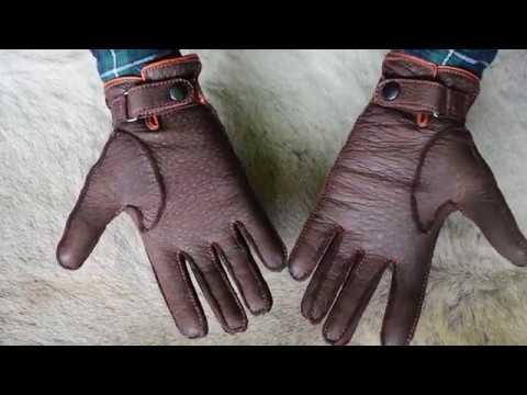 Maßgefertigte Lederhandschuhe Peccary Winterhandschuhe Farbe Sierra Braun Orange