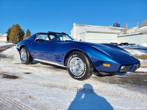 1977 Dark Blue Corvette T Top Blue Leather Int For Sale Video