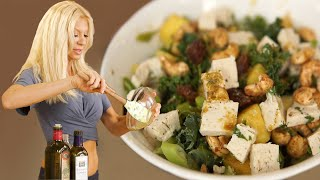 Cheese Date Pineapple Balsamic Kale Salad With Candied Cashews