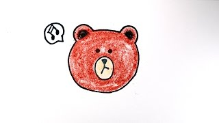 How to draw  Bear  Brown  from Line Town / 라인타운 브라운 그리기 / cute  かわいい 可愛  Characters /  예쁜 손그림 그리는 법