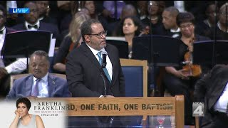 Michael Eric Dyson speaks at Aretha Franklin funeral service
