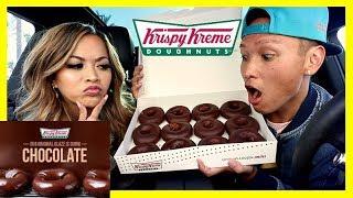EPIC CHOCOLATE GLAZED KRISPY KREME TASTE TEST REACTION! (EATING SHOW)