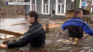В Крестцах больше 60 домов находятся в зоне подтопления, 11 жителей эвакуированы