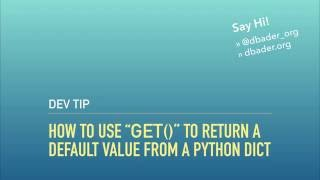 """Using """"get()"""" to Return a Default Value from a Python Dict"""