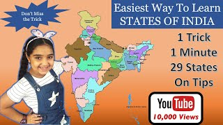 How To Learn States of India | Trick to Remember All The 29 States of India in easiest way. #gktrick