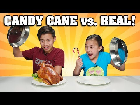 CANDY CANE VS. REAL FOOD CHALLENGE!!! Chicken Flavored Candy???!
