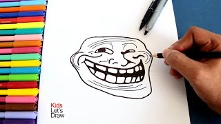 Cómo dibujar meme Trollface | How to draw Troll Face