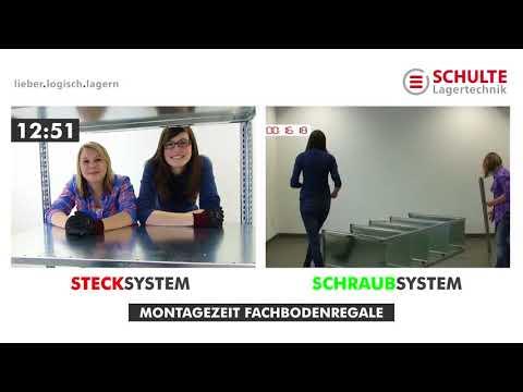 Vergleich der Montagezeit von Fachbodenregalen Steck- und Schraubsystem