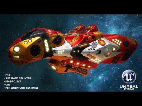 Sci-fi spaceship r2qf8 VR / AR / low-poly 3D model