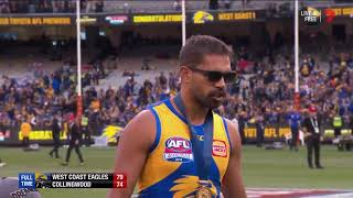 Lewis Jetta Has An Emotional Chat In The @WestCoastEagles Winning Rooms. #AFLGF