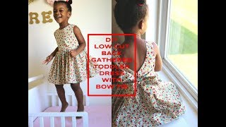 DIY [Beginner Sewing] Low Cut Back Gathered Toddler Dress With Bow Tie