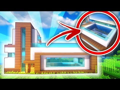Modern House With A Rooftop Pool Minecraft Map