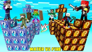 MINI GAME : FIRE VS WATER LUCKY BLOCK BEDWARS ** THỬ THÁCH NOOB TEAM CHIA LÀM HAI PHE CHIẾN ĐẤU ??