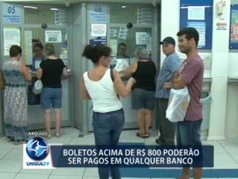 Boletos acima de R$ 800 podem ser pagos em qualquer banco