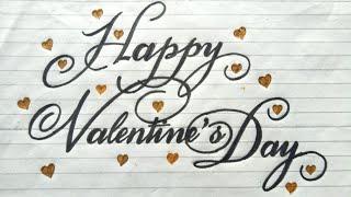 "❤How to Write ""Happy Valentines Day""- Stylish writing|Valentines Day Greeting card ideas❤ Valentines"