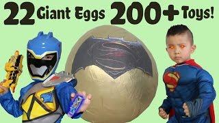 22 Giant Surprise Eggs 200+ Toys Unboxing Power Rangers Spiderman Batman Disney Cars Ben 10 Pokemon