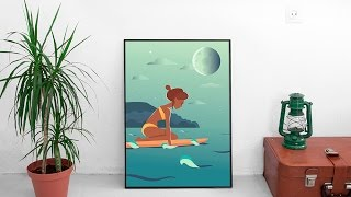 Swimming Girl Vector Illustration Process