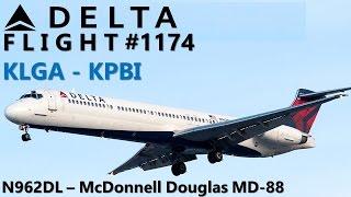 [Great SOUND!] TRIP-VID: Delta Air Lines MD-88 Flight 1174 (KLGA-KPBI)